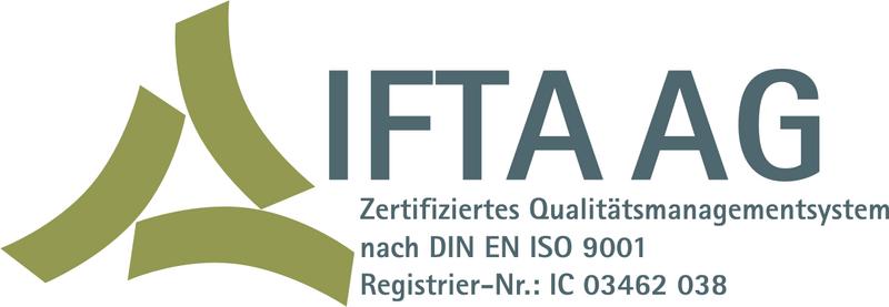IFTA AG: Zertifiziertes Qualitätsmanagement nach DIN EN ISO 9001, Registrier-Nr.: IC 03462 038